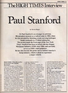 Paul Stanford 1990 High Times interview - 2